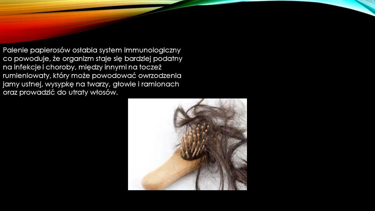 Palenie papierosów osłabia system immunologiczny co powoduje, że organizm staje się bardziej podatny na infekcje i choroby, między innymi na toczeż rumieniowaty, który może powodować owrzodzenia jamy ustnej, wysypkę na twarzy, głowie i ramionach oraz prowadzić do utraty włosów.