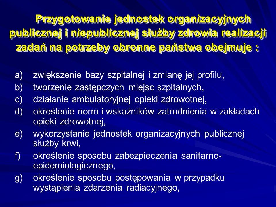 Przygotowanie jednostek organizacyjnych publicznej i niepublicznej służby zdrowia realizacji zadań na potrzeby obronne państwa obejmuje : a) a)zwiększenie bazy szpitalnej i zmianę jej profilu, b) b)tworzenie zastępczych miejsc szpitalnych, c) c)działanie ambulatoryjnej opieki zdrowotnej, d) d)określenie norm i wskaźników zatrudnienia w zakładach opieki zdrowotnej, e) e)wykorzystanie jednostek organizacyjnych publicznej służby krwi, f) f)określenie sposobu zabezpieczenia sanitarno- epidemiologicznego, g) g)określenie sposobu postępowania w przypadku wystąpienia zdarzenia radiacyjnego,