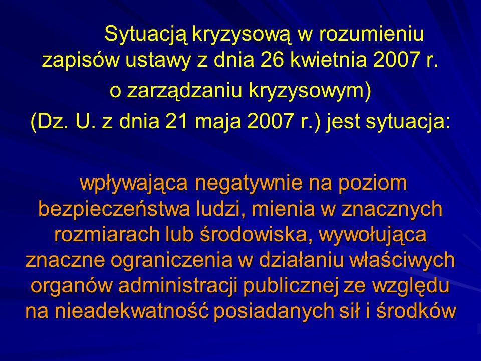 Sytuacją kryzysową w rozumieniu zapisów ustawy z dnia 26 kwietnia 2007 r. o zarządzaniu kryzysowym) (Dz. U. z dnia 21 maja 2007 r.) jest sytuacja: wpł