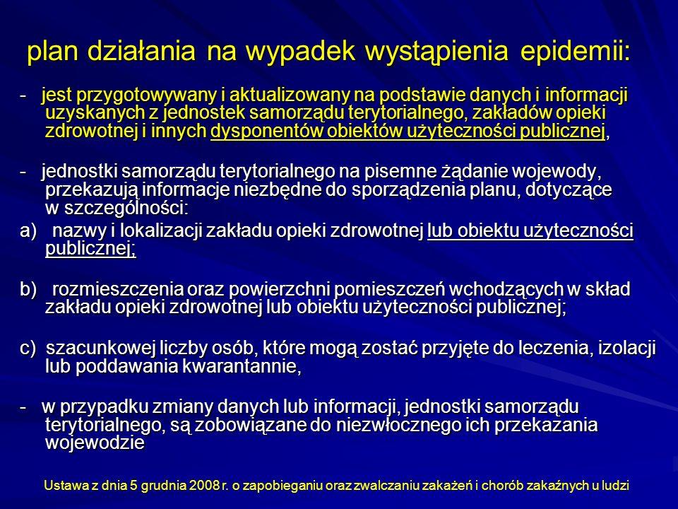 plan działania na wypadek wystąpienia epidemii: - jest przygotowywany i aktualizowany na podstawie danych i informacji uzyskanych z jednostek samorząd