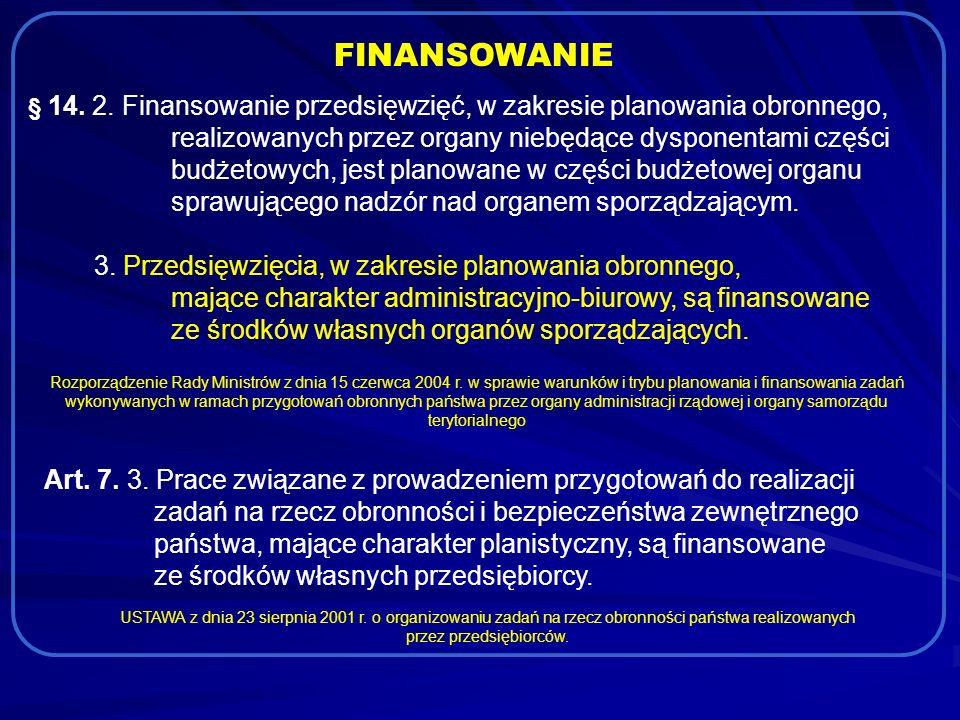 FINANSOWANIE § 14. 2. Finansowanie przedsięwzięć, w zakresie planowania obronnego, realizowanych przez organy niebędące dysponentami części budżetowyc