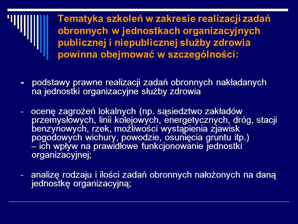 Tematyka szkoleń w zakresie realizacji zadań obronnych w jednostkach organizacyjnych publicznej i niepublicznej służby zdrowia powinna obejmować w szczególności: - podstawy prawne realizacji zadań obronnych nakładanych na jednostki organizacyjne służby zdrowia - ocenę zagrożeń lokalnych (np.