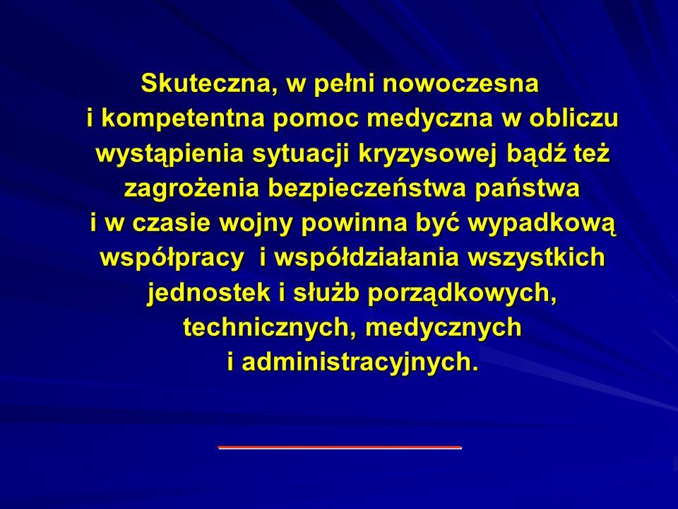 Skuteczna, w pełni nowoczesna i kompetentna pomoc medyczna w obliczu wystąpienia sytuacji kryzysowej bądź też zagrożenia bezpieczeństwa państwa i w cz