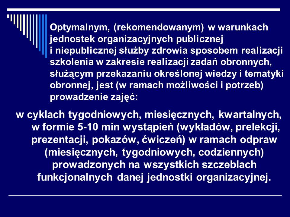 Optymalnym, (rekomendowanym) w warunkach jednostek organizacyjnych publicznej i niepublicznej służby zdrowia sposobem realizacji szkolenia w zakresie