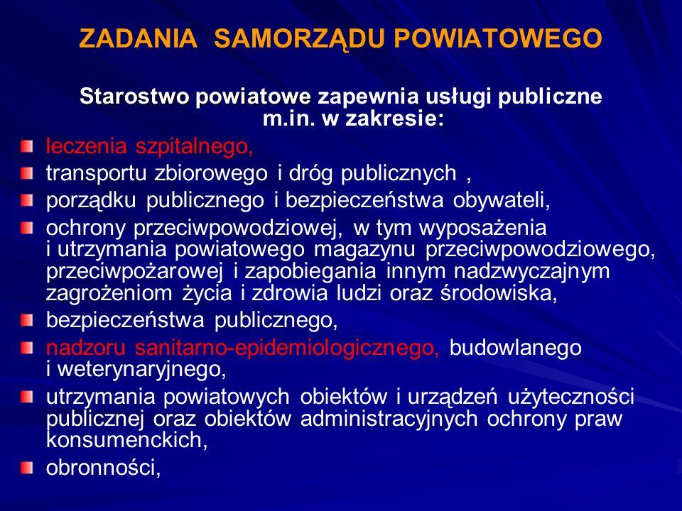 Starostwo powiatowe Starostwo powiatowe zapewnia usługi publiczne m.in. w zakresie: leczenia szpitalnego, transportu zbiorowego i dróg publicznych, po