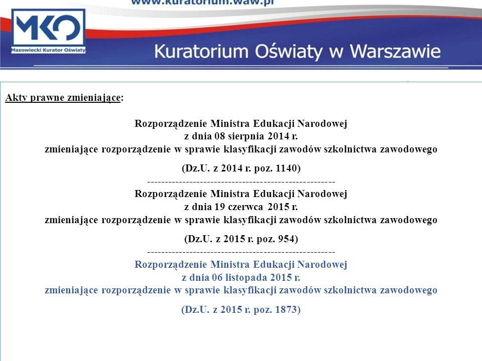 Akty prawne zmieniające: Rozporządzenie Ministra Edukacji Narodowej z dnia 08 sierpnia 2014 r.