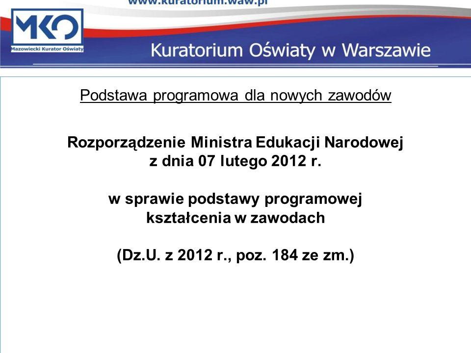 Podstawa programowa dla nowych zawodów Rozporządzenie Ministra Edukacji Narodowej z dnia 07 lutego 2012 r.