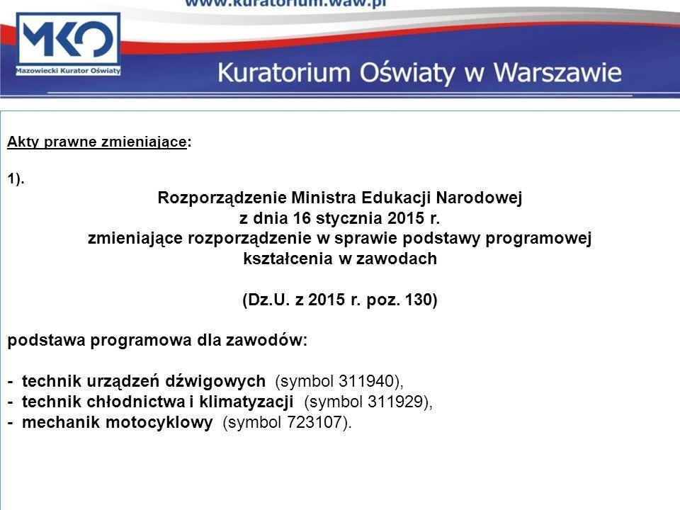 Akty prawne zmieniające: 1). Rozporządzenie Ministra Edukacji Narodowej z dnia 16 stycznia 2015 r.