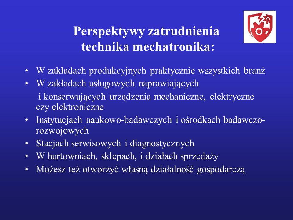 Perspektywy zatrudnienia technika mechatronika: W zakładach produkcyjnych praktycznie wszystkich branż W zakładach usługowych naprawiających i konserw