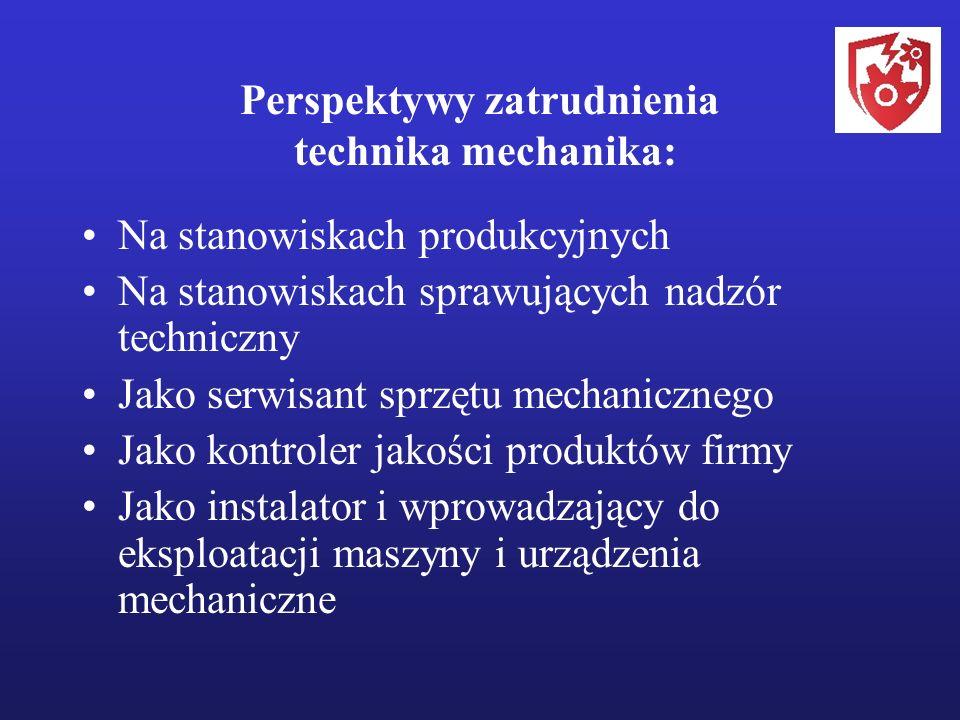 Perspektywy zatrudnienia technika mechanika: Na stanowiskach produkcyjnych Na stanowiskach sprawujących nadzór techniczny Jako serwisant sprzętu mechanicznego Jako kontroler jakości produktów firmy Jako instalator i wprowadzający do eksploatacji maszyny i urządzenia mechaniczne