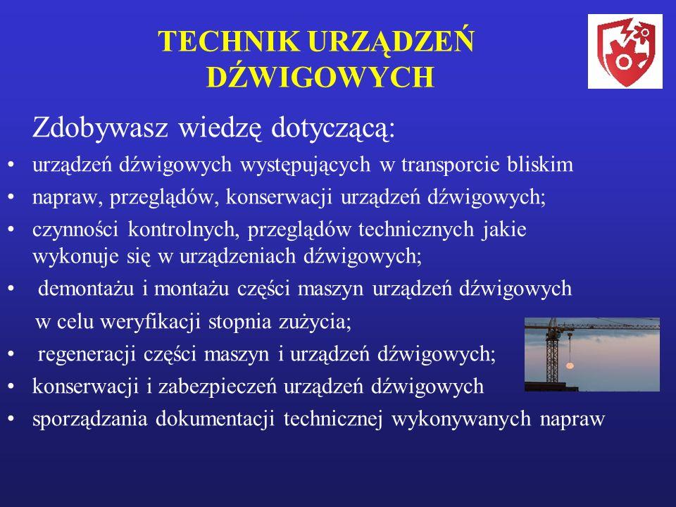 TECHNIK URZĄDZEŃ DŹWIGOWYCH Zdobywasz wiedzę dotyczącą: urządzeń dźwigowych występujących w transporcie bliskim napraw, przeglądów, konserwacji urządzeń dźwigowych; czynności kontrolnych, przeglądów technicznych jakie wykonuje się w urządzeniach dźwigowych; demontażu i montażu części maszyn urządzeń dźwigowych w celu weryfikacji stopnia zużycia; regeneracji części maszyn i urządzeń dźwigowych; konserwacji i zabezpieczeń urządzeń dźwigowych sporządzania dokumentacji technicznej wykonywanych napraw