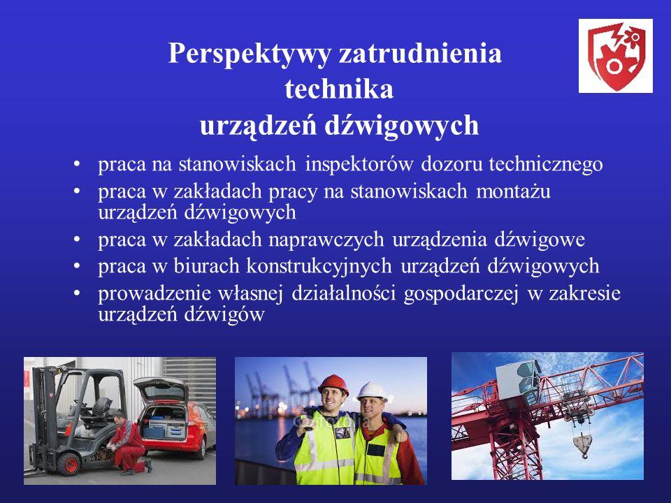 Perspektywy zatrudnienia technika urządzeń dźwigowych praca na stanowiskach inspektorów dozoru technicznego praca w zakładach pracy na stanowiskach montażu urządzeń dźwigowych praca w zakładach naprawczych urządzenia dźwigowe praca w biurach konstrukcyjnych urządzeń dźwigowych prowadzenie własnej działalności gospodarczej w zakresie urządzeń dźwigów
