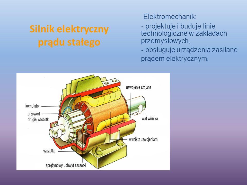 Silnik elektryczny prądu stałego Elektromechanik: - projektuje i buduje linie technologiczne w zakładach przemysłowych, - obsługuje urządzenia zasilane prądem elektrycznym.