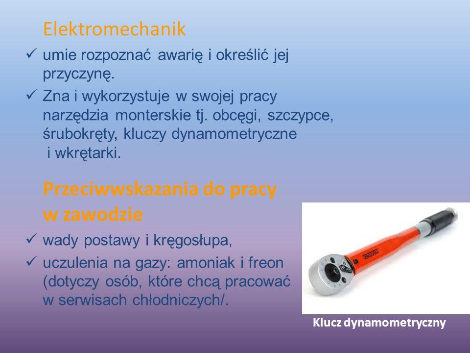 Klucz dynamometryczny Elektromechanik umie rozpoznać awarię i określić jej przyczynę.