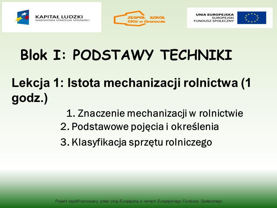 Blok I: PODSTAWY TECHNIKI Lekcja 1: Istota mechanizacji rolnictwa (1 godz.) 1.