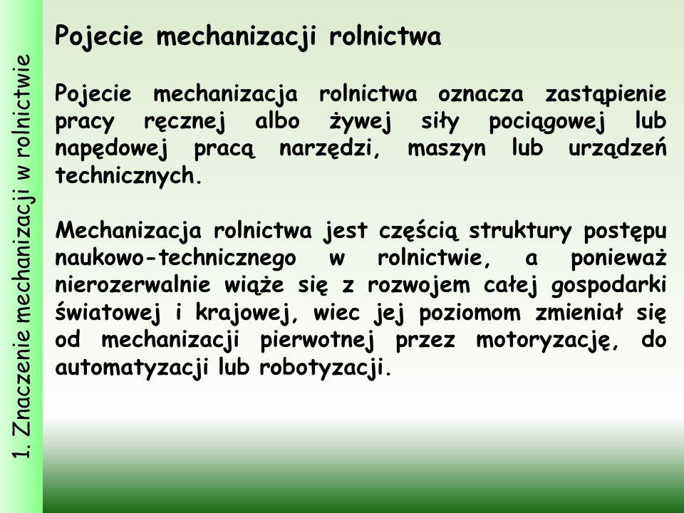 1. Znaczenie mechanizacji w rolnictwie Pojecie mechanizacji rolnictwa Pojecie mechanizacja rolnictwa oznacza zastąpienie pracy ręcznej albo żywej siły