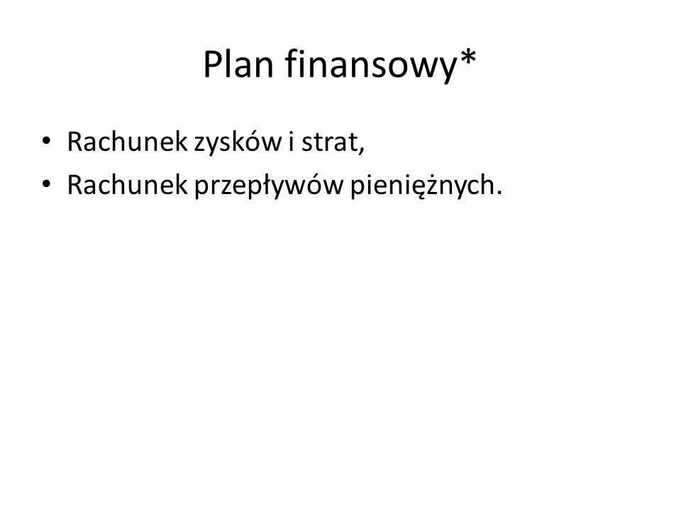 Plan finansowy* Rachunek zysków i strat, Rachunek przepływów pieniężnych.