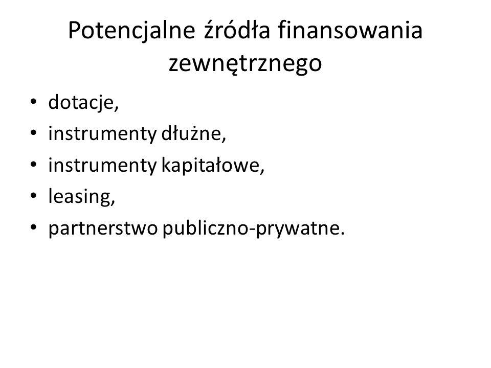 Potencjalne źródła finansowania zewnętrznego dotacje, instrumenty dłużne, instrumenty kapitałowe, leasing, partnerstwo publiczno-prywatne.
