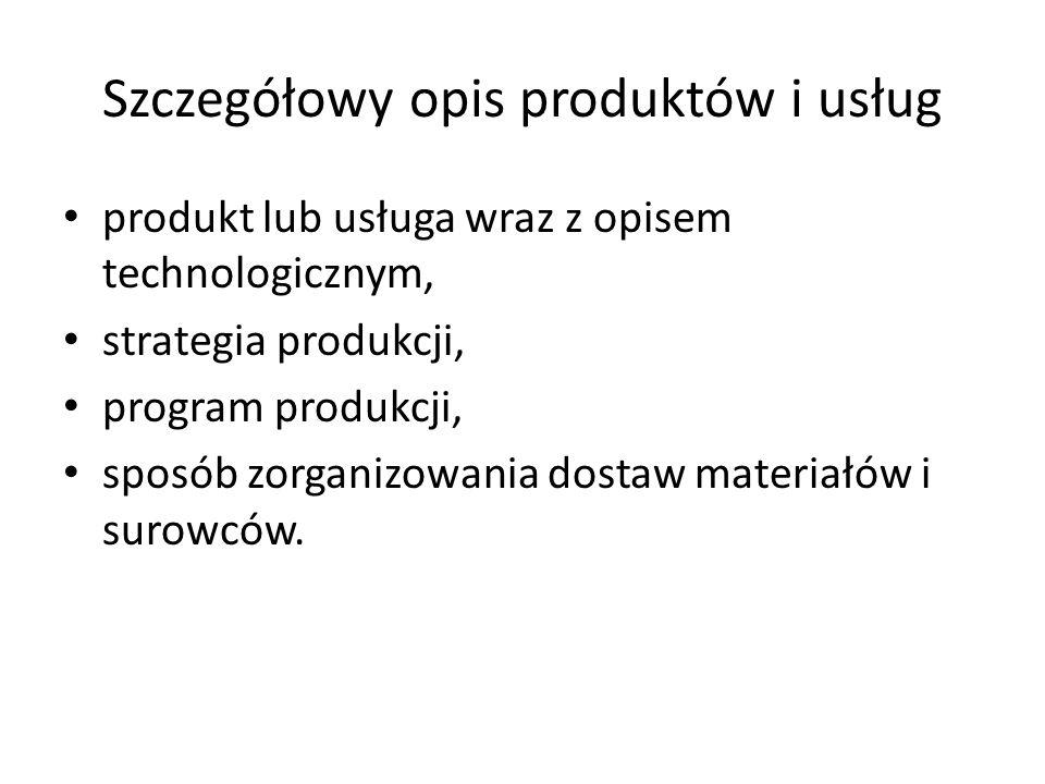 Szczegółowy opis produktów i usług produkt lub usługa wraz z opisem technologicznym, strategia produkcji, program produkcji, sposób zorganizowania dos