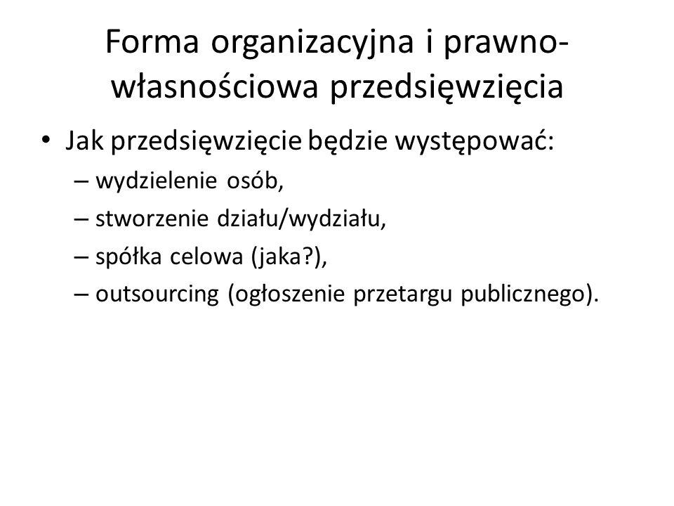 Forma organizacyjna i prawno- własnościowa przedsięwzięcia Jak przedsięwzięcie będzie występować: – wydzielenie osób, – stworzenie działu/wydziału, – spółka celowa (jaka ), – outsourcing (ogłoszenie przetargu publicznego).