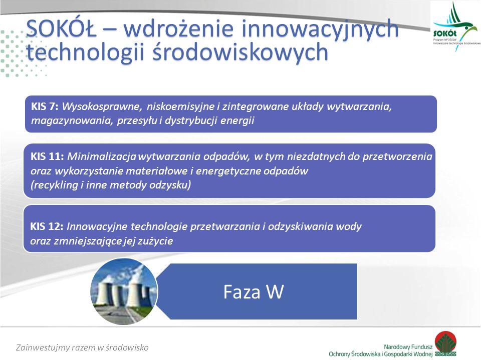 Zainwestujmy razem w środowisko SOKÓŁ – wdrożenie innowacyjnych technologii środowiskowych KIS 7: Wysokosprawne, niskoemisyjne i zintegrowane układy wytwarzania, magazynowania, przesyłu i dystrybucji energii Faza W KIS 11: Minimalizacja wytwarzania odpadów, w tym niezdatnych do przetworzenia oraz wykorzystanie materiałowe i energetyczne odpadów (recykling i inne metody odzysku) KIS 12: Innowacyjne technologie przetwarzania i odzyskiwania wody oraz zmniejszające jej zużycie