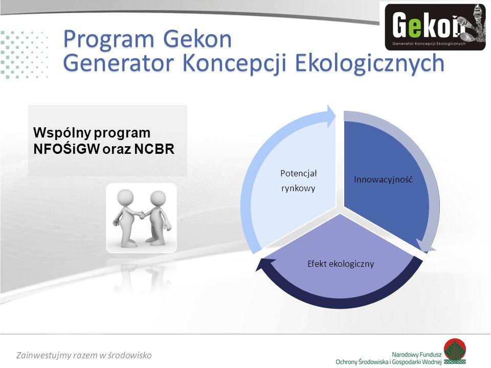 Zainwestujmy razem w środowisko Program Gekon Generator Koncepcji Ekologicznych Wspólny program NFOŚiGW oraz NCBR
