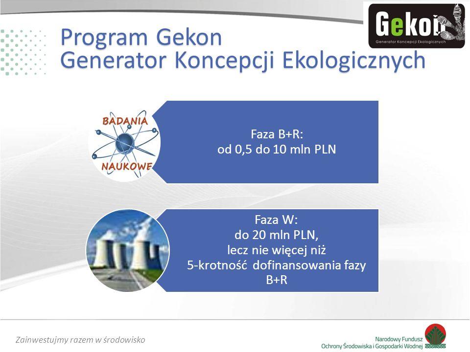 Zainwestujmy razem w środowisko Faza B+R: od 0,5 do 10 mln PLN Faza W: do 20 mln PLN, lecz nie więcej niż 5-krotność dofinansowania fazy B+R Program Gekon Generator Koncepcji Ekologicznych
