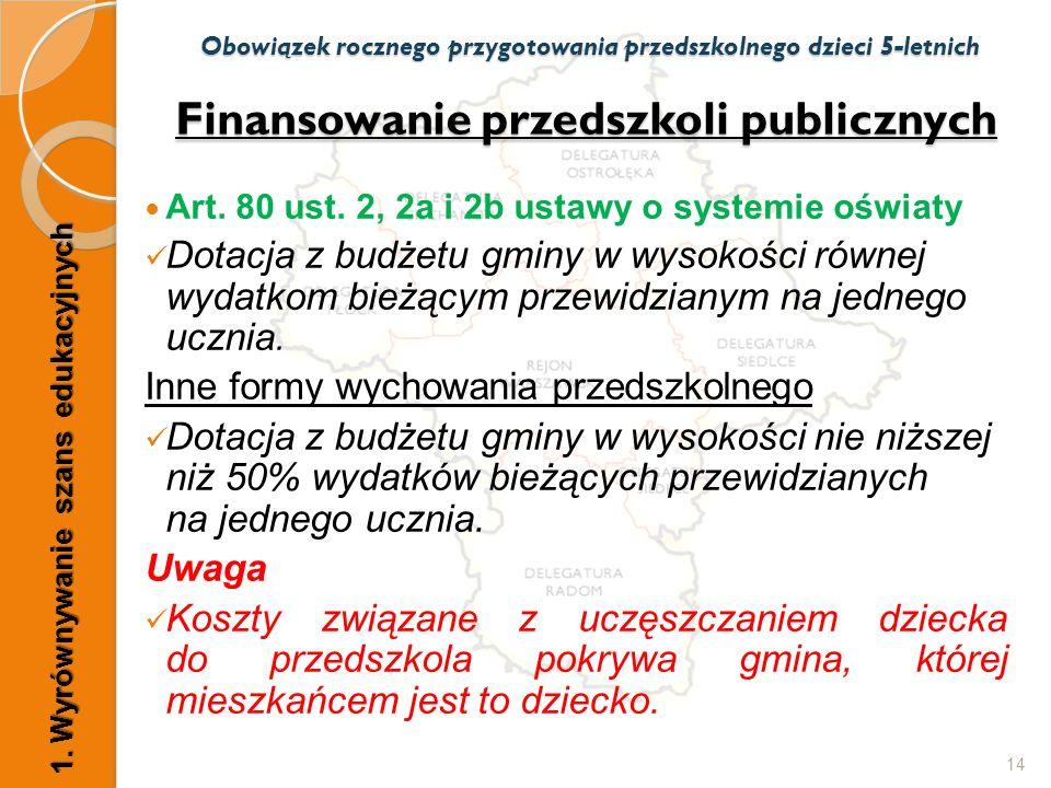 Finansowanie przedszkoli publicznych Art. 80 ust. 2, 2a i 2b ustawy o systemie oświaty Dotacja z budżetu gminy w wysokości równej wydatkom bieżącym pr
