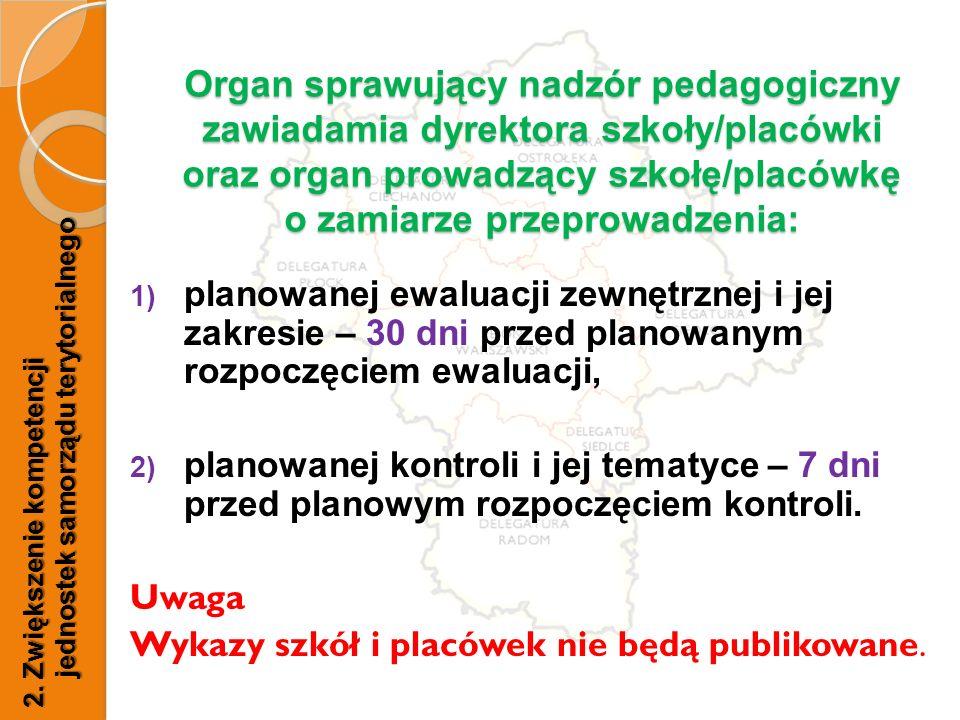 Organ sprawujący nadzór pedagogiczny zawiadamia dyrektora szkoły/placówki oraz organ prowadzący szkołę/placówkę o zamiarze przeprowadzenia: 1) planowa
