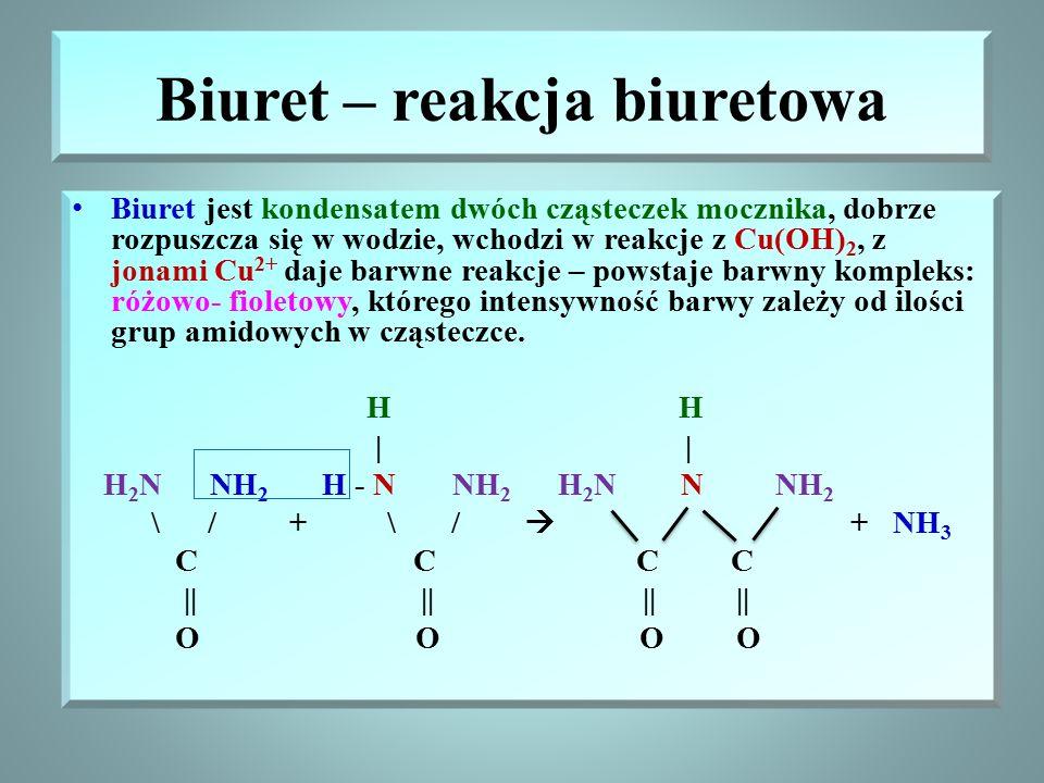 Właściwości mocznika Substancja stała, biała, bardzo dobrze rozpuszczalna w wodzie Mocznik reaguje z kwasem azotowym, powstaje biała sól – azotan(V) m