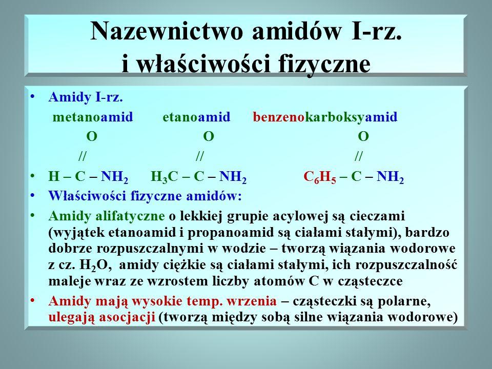 Budowa amidów Amidy kwasów karboksylowych – związki organiczne zawierające grupę funkcyjną – amidową : O // - C – NH 2 o ogólnym wzorze R – CONH 2 Gru