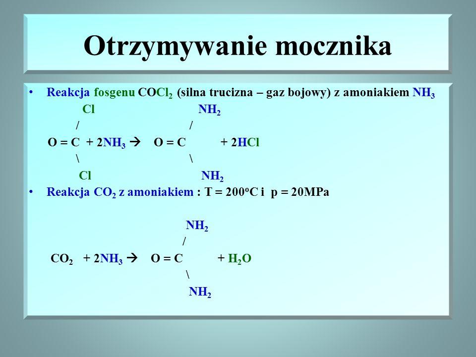 Mocznik – amid kwasu węglowego Mocznik – CO(NH 2 ) 2 – jest produktem końcowym przemiany białek w organizmach zwierzęcych, jest toksyczny, usuwany jes