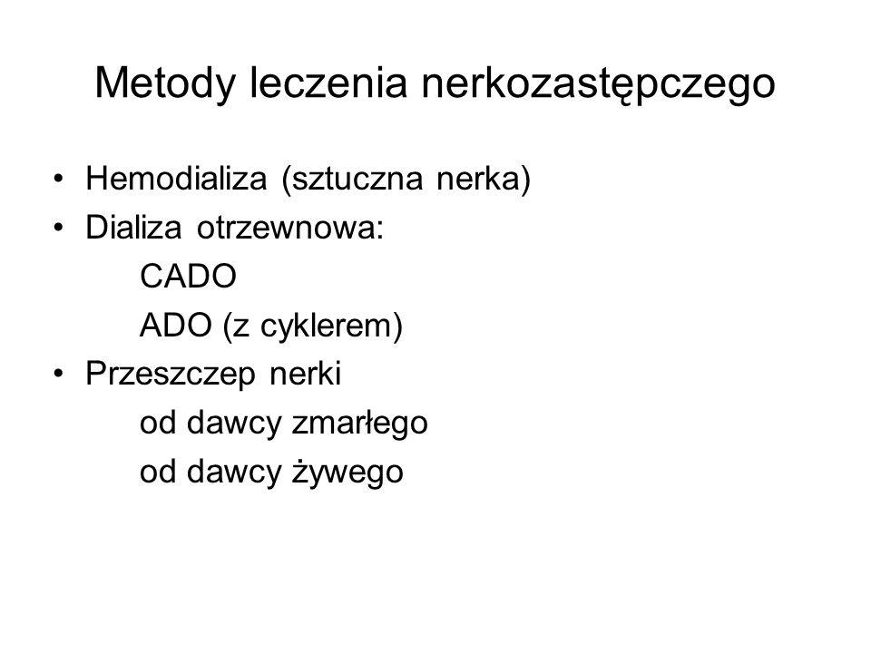 Metody leczenia nerkozastępczego Hemodializa (sztuczna nerka) Dializa otrzewnowa: CADO ADO (z cyklerem) Przeszczep nerki od dawcy zmarłego od dawcy żywego