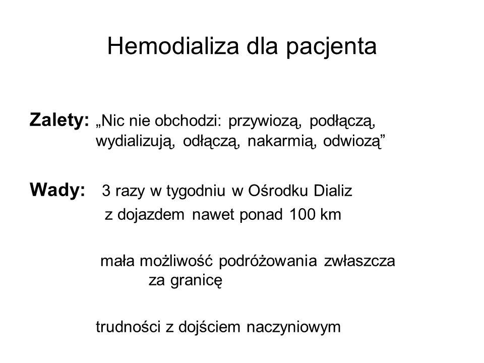 """Hemodializa dla pacjenta Zalety: """"Nic nie obchodzi: przywiozą, podłączą, wydializują, odłączą, nakarmią, odwiozą Wady: 3 razy w tygodniu w Ośrodku Dializ z dojazdem nawet ponad 100 km mała możliwość podróżowania zwłaszcza za granicę trudności z dojściem naczyniowym"""