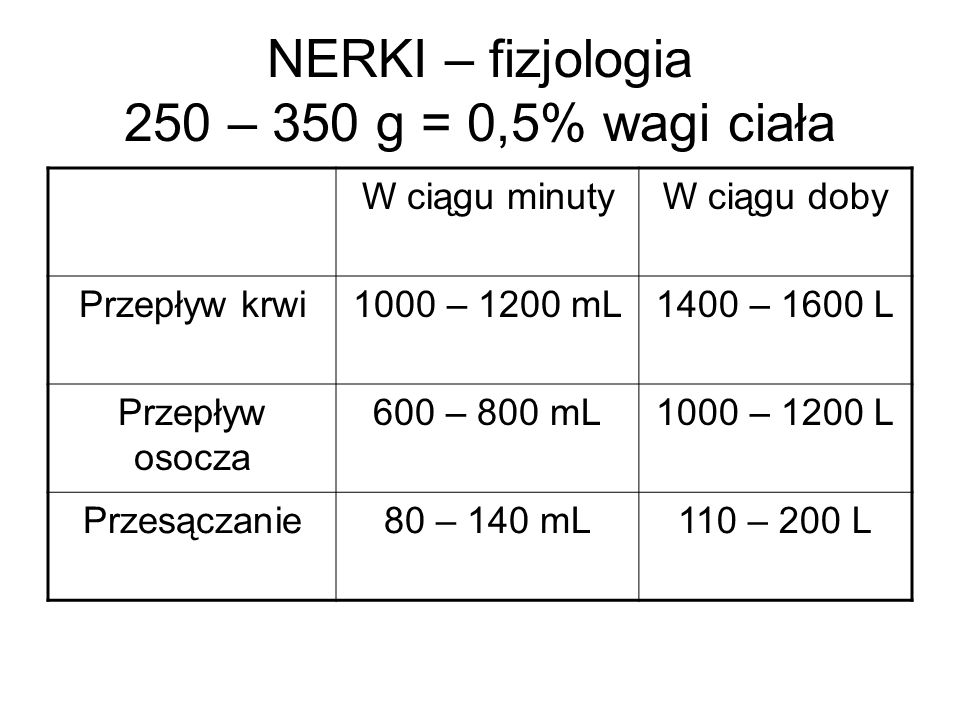 NERKI – fizjologia 250 – 350 g = 0,5% wagi ciała W ciągu minutyW ciągu doby Przepływ krwi1000 – 1200 mL1400 – 1600 L Przepływ osocza 600 – 800 mL1000 – 1200 L Przesączanie80 – 140 mL110 – 200 L