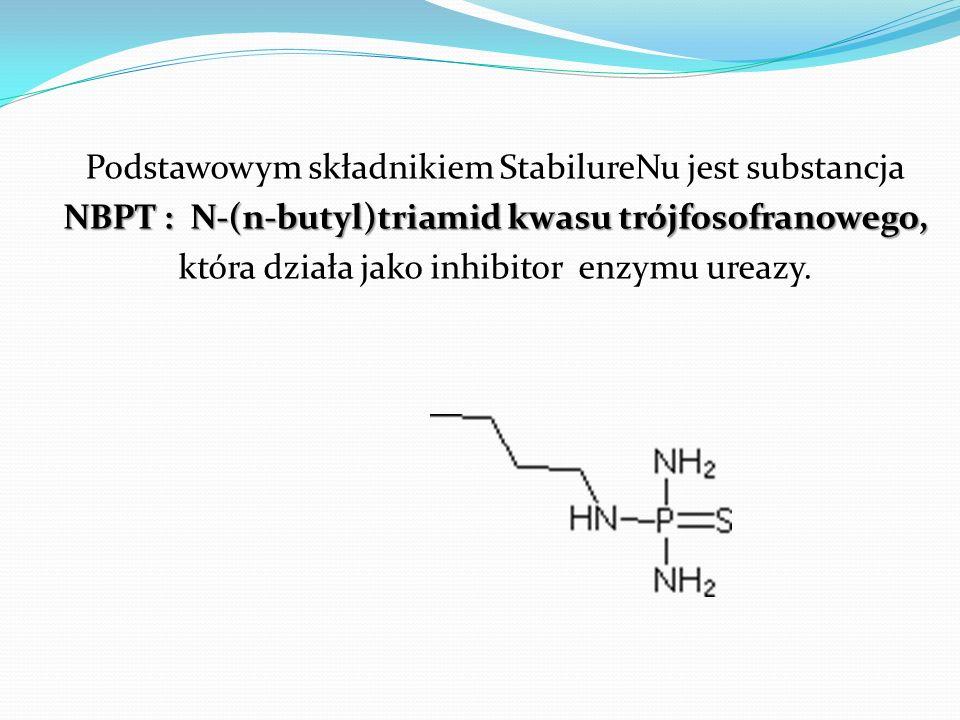 Podstawowym składnikiem StabilureNu jest substancja NBPT : N-(n-butyl)triamid kwasu trójfosofranowego, która działa jako inhibitor enzymu ureazy.