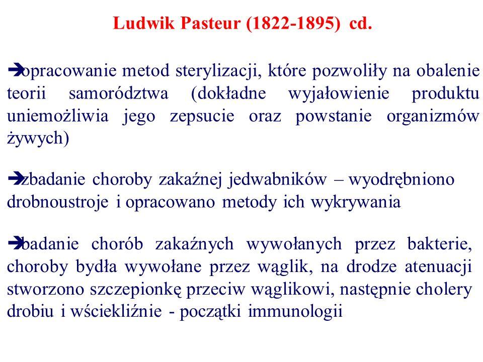 Ludwik Pasteur (1822-1895) cd.  zbadanie choroby zakaźnej jedwabników – wyodrębniono drobnoustroje i opracowano metody ich wykrywania  badanie choró