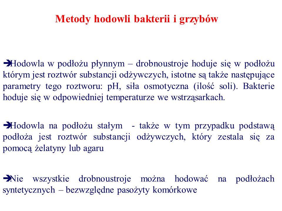  Hodowla w podłożu płynnym – drobnoustroje hoduje się w podłożu którym jest roztwór substancji odżywczych, istotne są także następujące parametry tego roztworu: pH, siła osmotyczna (ilość soli).