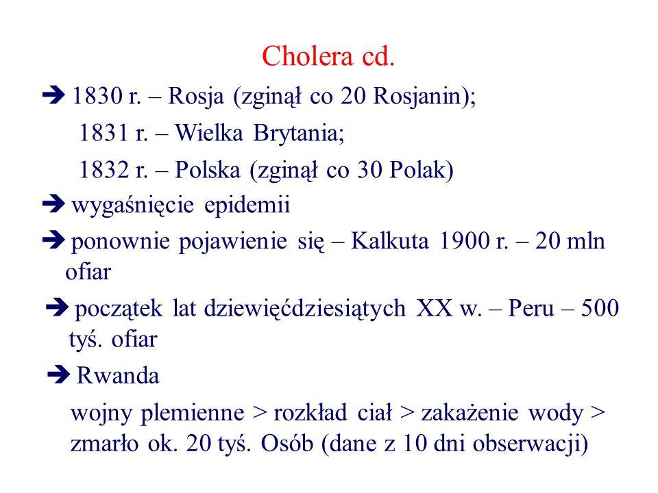 Cholera cd.  1830 r. – Rosja (zginął co 20 Rosjanin); 1831 r. – Wielka Brytania; 1832 r. – Polska (zginął co 30 Polak)  wygaśnięcie epidemii  ponow