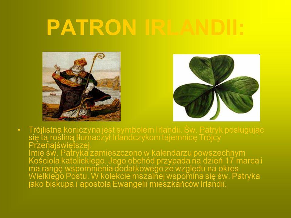 PATRON IRLANDII: Trójlistna koniczyna jest symbolem Irlandii. Św. Patryk posługując się tą rośliną tłumaczył Irlandczykom tajemnicę Trójcy Przenajświę