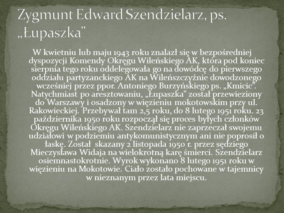 W kwietniu lub maju 1943 roku znalazł się w bezpośredniej dyspozycji Komendy Okręgu Wileńskiego AK, która pod koniec sierpnia tego roku oddelegowała go na dowódcę do pierwszego oddziału partyzanckiego AK na Wileńszczyźnie dowodzonego wcześniej przez ppor.