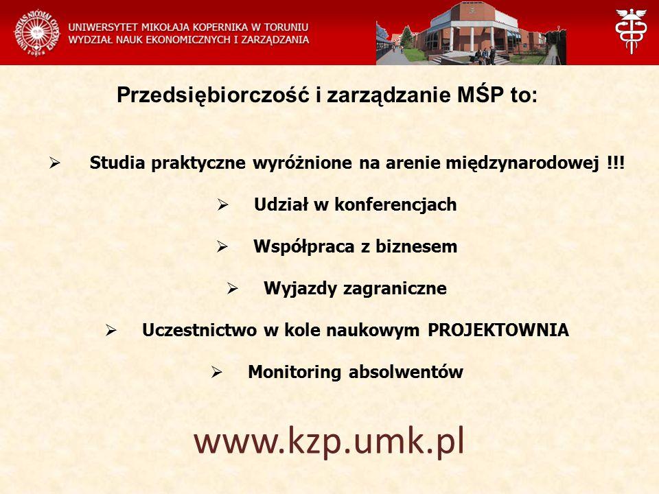 Przedsiębiorczość i zarządzanie MŚP to:  Studia praktyczne wyróżnione na arenie międzynarodowej !!!  Udział w konferencjach  Współpraca z biznesem