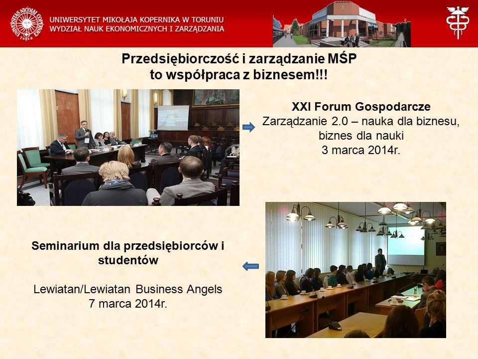 Przedsiębiorczość i zarządzanie MŚP to współpraca z biznesem!!! XXI Forum Gospodarcze Zarządzanie 2.0 – nauka dla biznesu, biznes dla nauki 3 marca 20