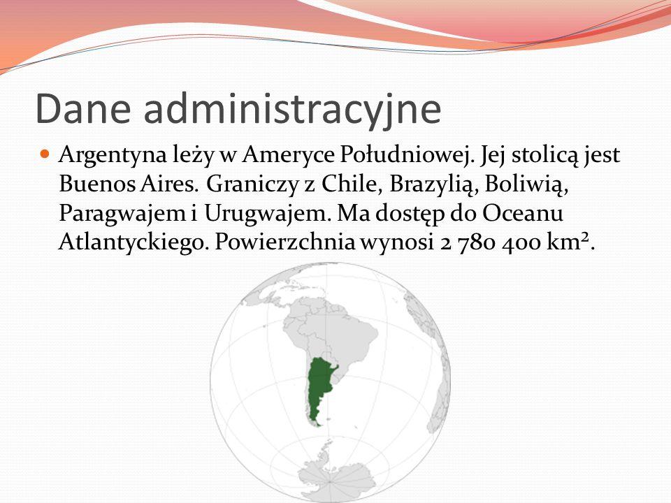 Dane administracyjne Argentyna leży w Ameryce Południowej. Jej stolicą jest Buenos Aires. Graniczy z Chile, Brazylią, Boliwią, Paragwajem i Urugwajem.