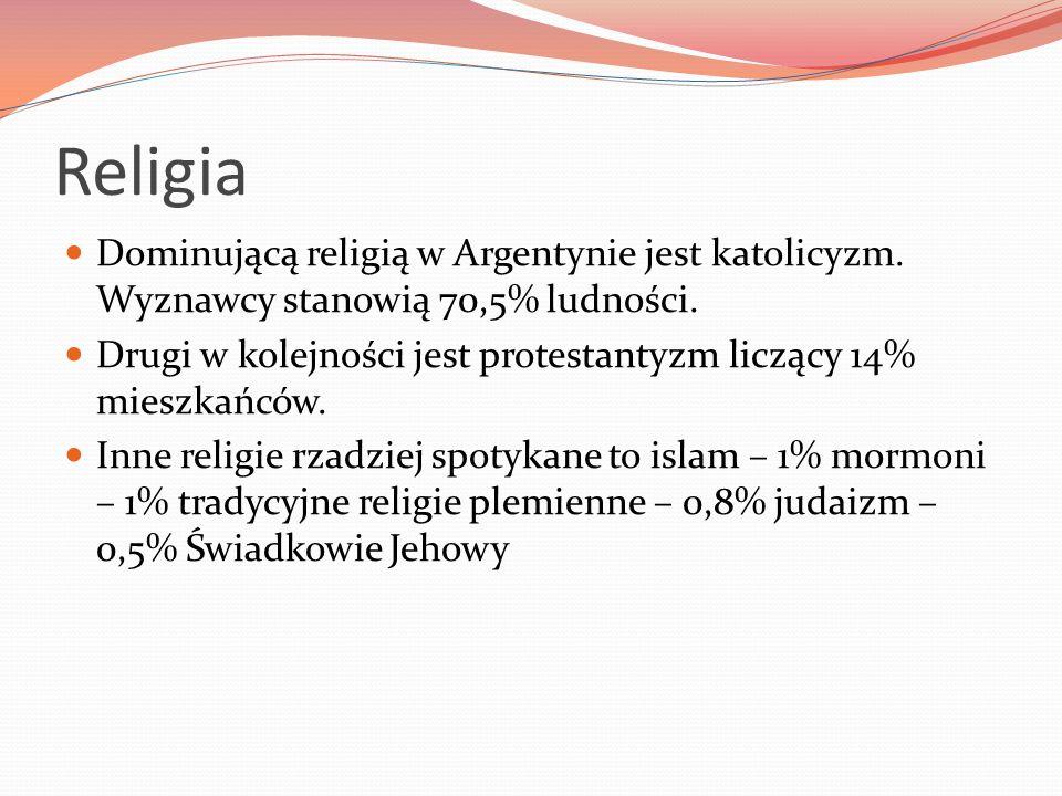 Religia Dominującą religią w Argentynie jest katolicyzm. Wyznawcy stanowią 70,5% ludności. Drugi w kolejności jest protestantyzm liczący 14% mieszkańc