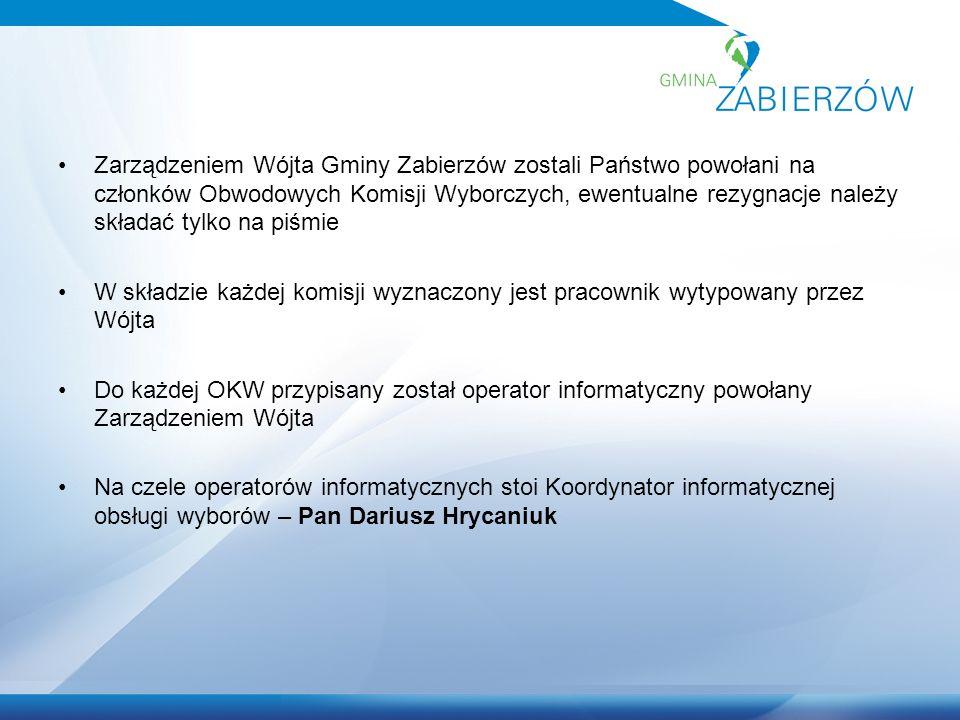 Zarządzeniem Wójta Gminy Zabierzów zostali Państwo powołani na członków Obwodowych Komisji Wyborczych, ewentualne rezygnacje należy składać tylko na p