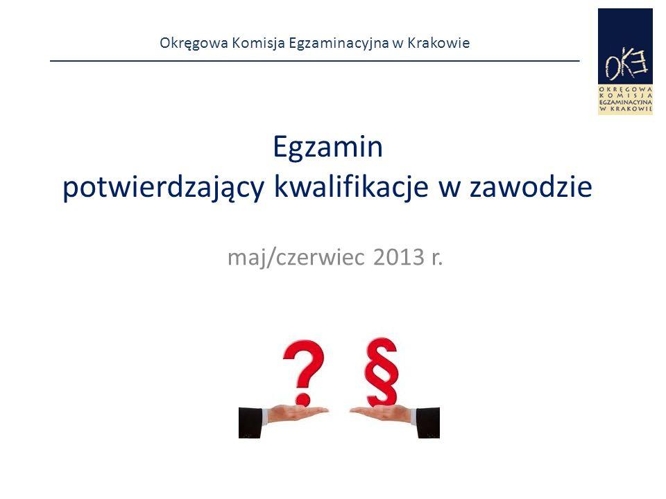 Okręgowa Komisja Egzaminacyjna w Krakowie co najmniej dzień przed egzaminem  sprawdza, czy są przygotowane dokumenty:  listy zdających w poszczególnych salach/miejscach,  naklejki i kartki z danymi zdających (z nazwiskiem, imieniem, nr PESEL, a w przypadku braku nr PESEL, serią i numerem paszportu lub innego dokumentu potwierdzającego tożsamość, z nazwą i oznaczeniem kwalifikacji, w zakresie której jest przeprowadzana część praktyczna egzaminu).