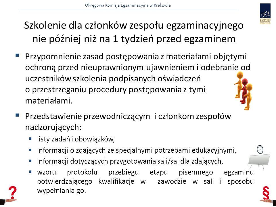 Okręgowa Komisja Egzaminacyjna w Krakowie  Przypomnienie zasad postępowania z materiałami objętymi ochroną przed nieuprawnionym ujawnieniem i odebranie od uczestników szkolenia podpisanych oświadczeń o przestrzeganiu procedury postępowania z tymi materiałami.