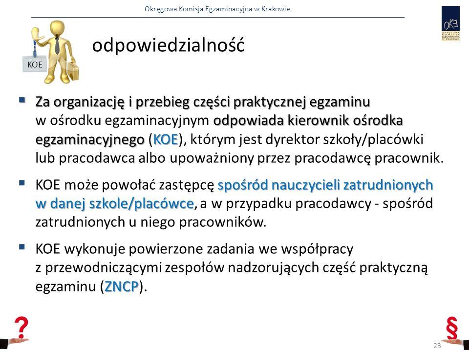 Okręgowa Komisja Egzaminacyjna w Krakowie odpowiedzialność  Za organizację i przebieg części praktycznej egzaminu odpowiada kierownik ośrodka egzaminacyjnego KOE  Za organizację i przebieg części praktycznej egzaminu w ośrodku egzaminacyjnym odpowiada kierownik ośrodka egzaminacyjnego (KOE), którym jest dyrektor szkoły/placówki lub pracodawca albo upoważniony przez pracodawcę pracownik.