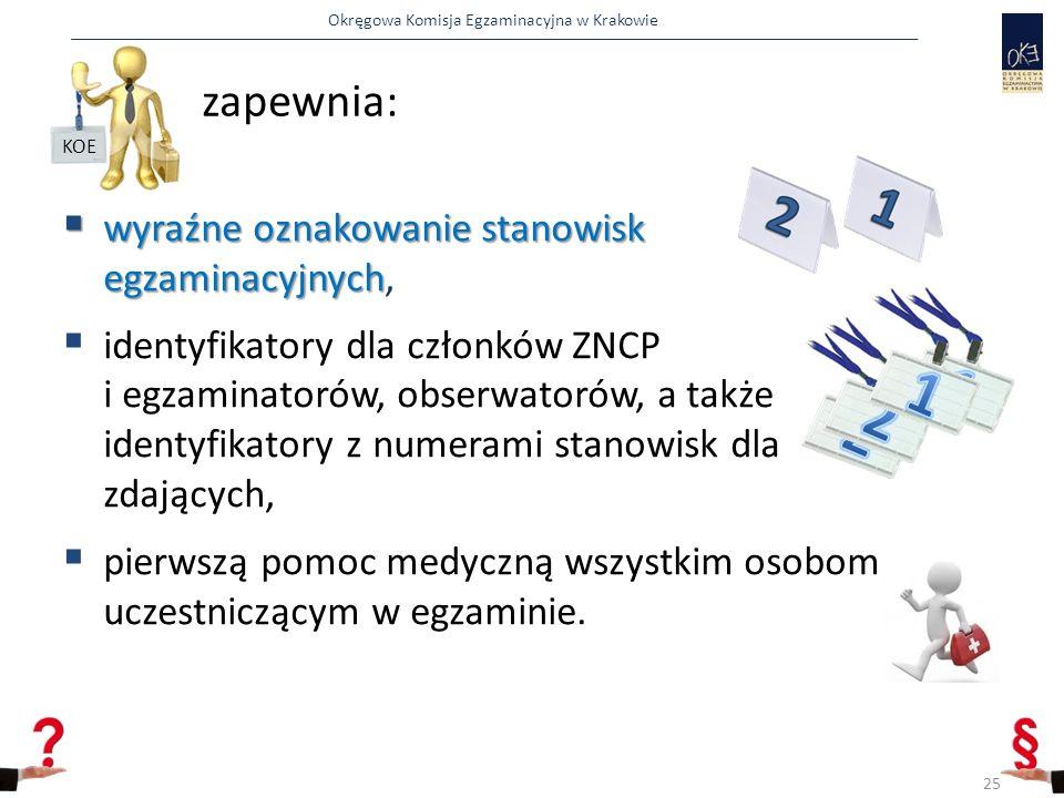 Okręgowa Komisja Egzaminacyjna w Krakowie  wyraźne oznakowanie stanowisk egzaminacyjnych  wyraźne oznakowanie stanowisk egzaminacyjnych,  identyfikatory dla członków ZNCP i egzaminatorów, obserwatorów, a także identyfikatory z numerami stanowisk dla zdających,  pierwszą pomoc medyczną wszystkim osobom uczestniczącym w egzaminie.
